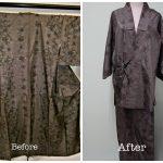 大島紬を作務衣にリメイク