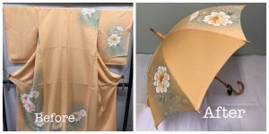 訪問着から日傘にリメイク